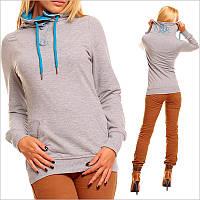 Серая женская толстовка c капюшоном, интернет магазин женской одежды