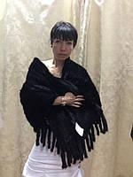 Шарф из норки вязаный черный с карманами