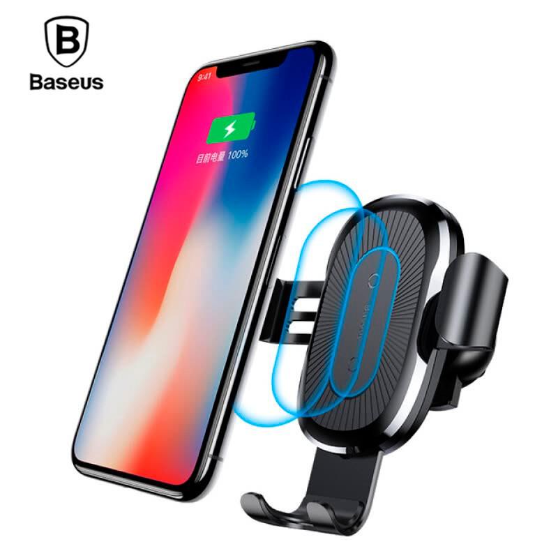 Беспроводное автомобильное зарядное устройство с держателем для телефона QI Baseus 10W