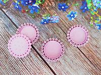 Пластикова Основа (кришечка) для серединки бантика у стразовой оправі, 33/25 мм, колір світло-рожевий