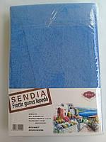 Простыня на резинке Sendia: махровая, голубого цвета - 180*200