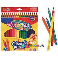 Карандаши цветные треугольные JUMBO (18) с точилкой Colorino 15554PTR