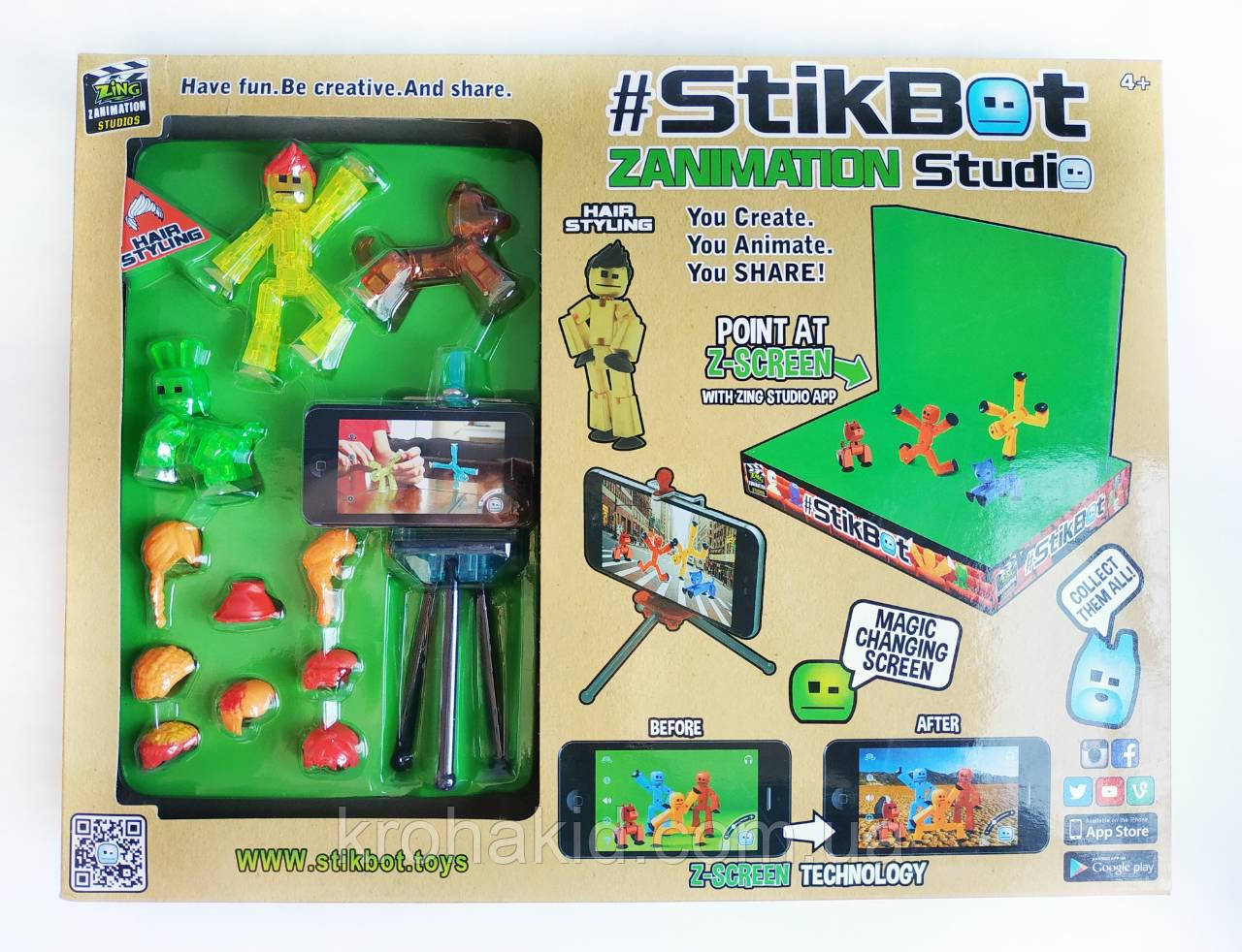 Набір фігурок для анімаційного творчості StikBot зі сценою і штативом для зйомок