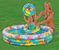Intex 59469 Надувной бассейн с набором+мяч, круг (132х28 см)