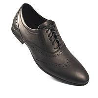 Взуття великого розміру туфлі чоловічі шкіряні класичні оксфорди броги чорні Rosso Avangard BS Lord Protec, фото 1