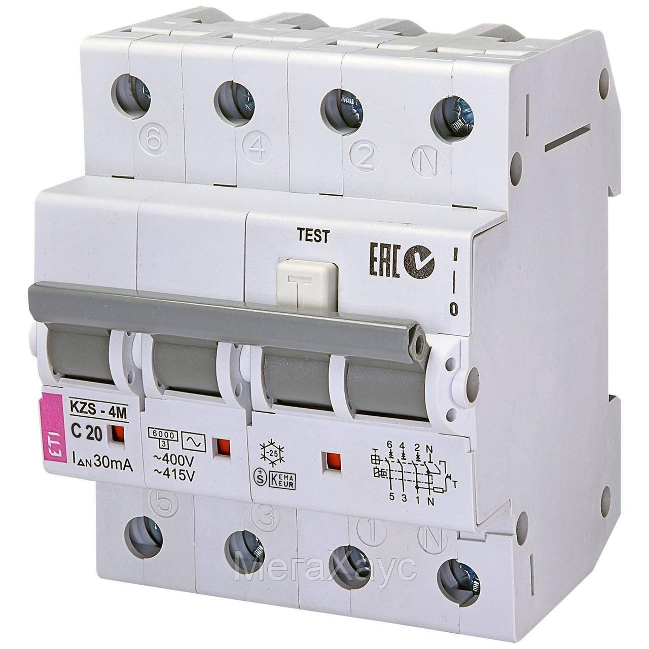 Дифференциальный  автоматический выключатель . ETI. KZS-4M 3p+N C 20/0,03 тип AC (