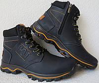 Детские зимние в стиле Caterpillar сапоги кожа ботинки САТ мех теплые качество синие