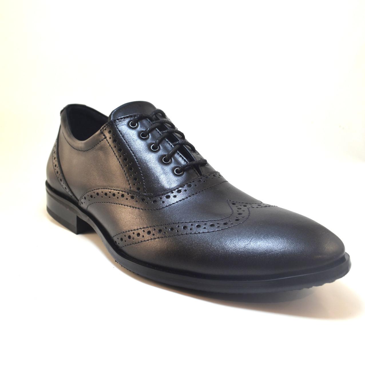 Обувь больших размеров мужская туфли кожаные оксфорды броги черные Rosso Avangard BS FeliceteZo Black Pelle