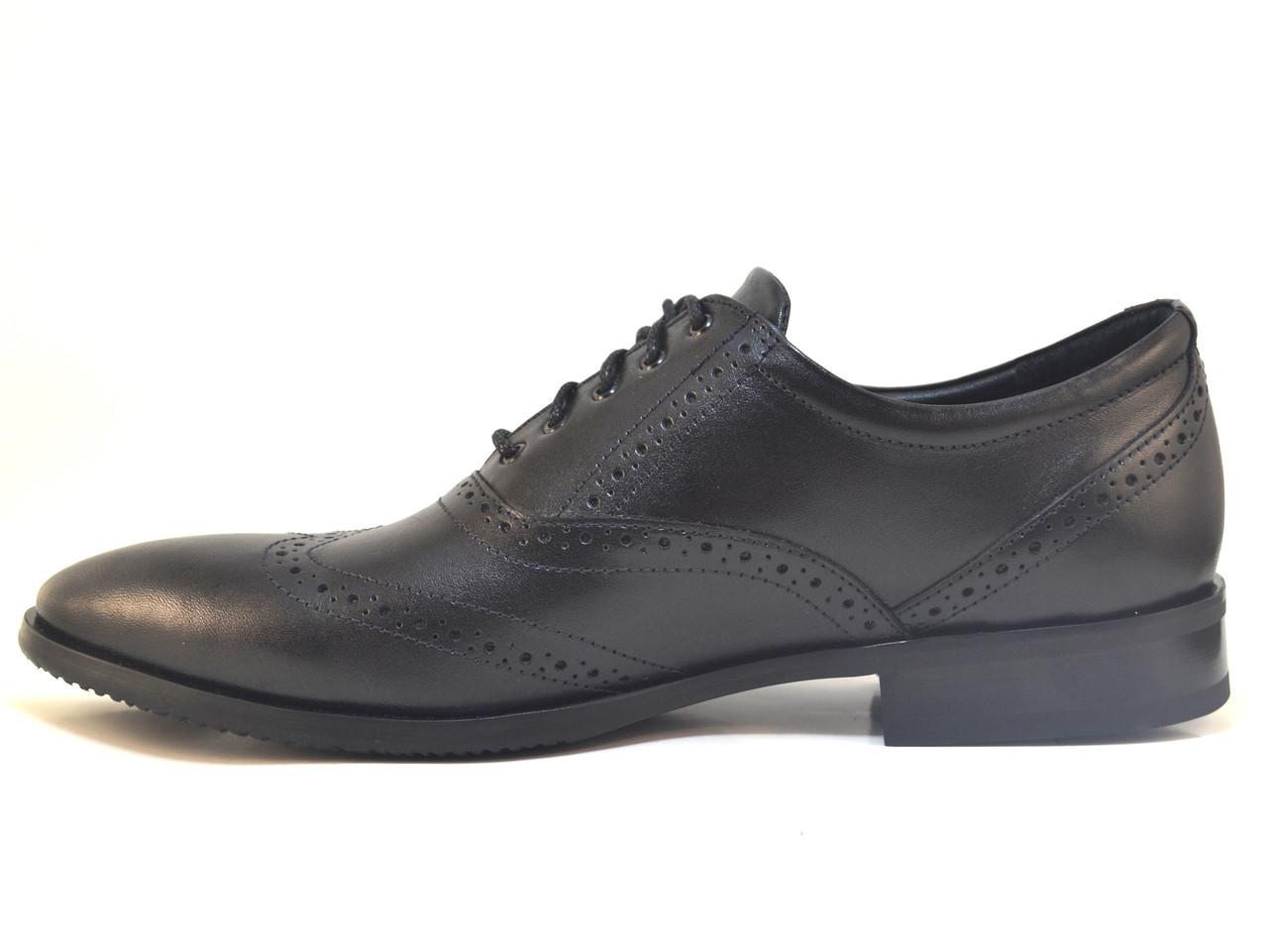 Туфли мужские кожаные большого размера оксфорды броги черные Rosso Avangard FeliceteZo Black Pelle