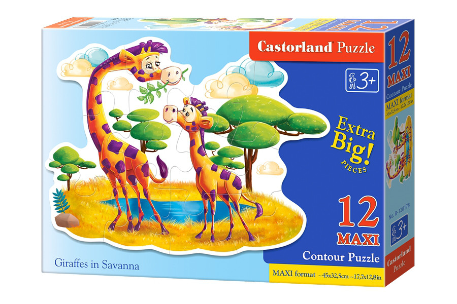 "Пазлы на 12 элементов. ""Жирафы в Саванне"""