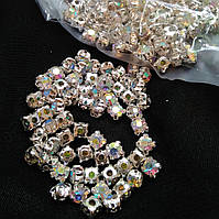 Стразы в цапах, Риволи SS20 (4.5 mm), Crystal АВ, серебряная оправа