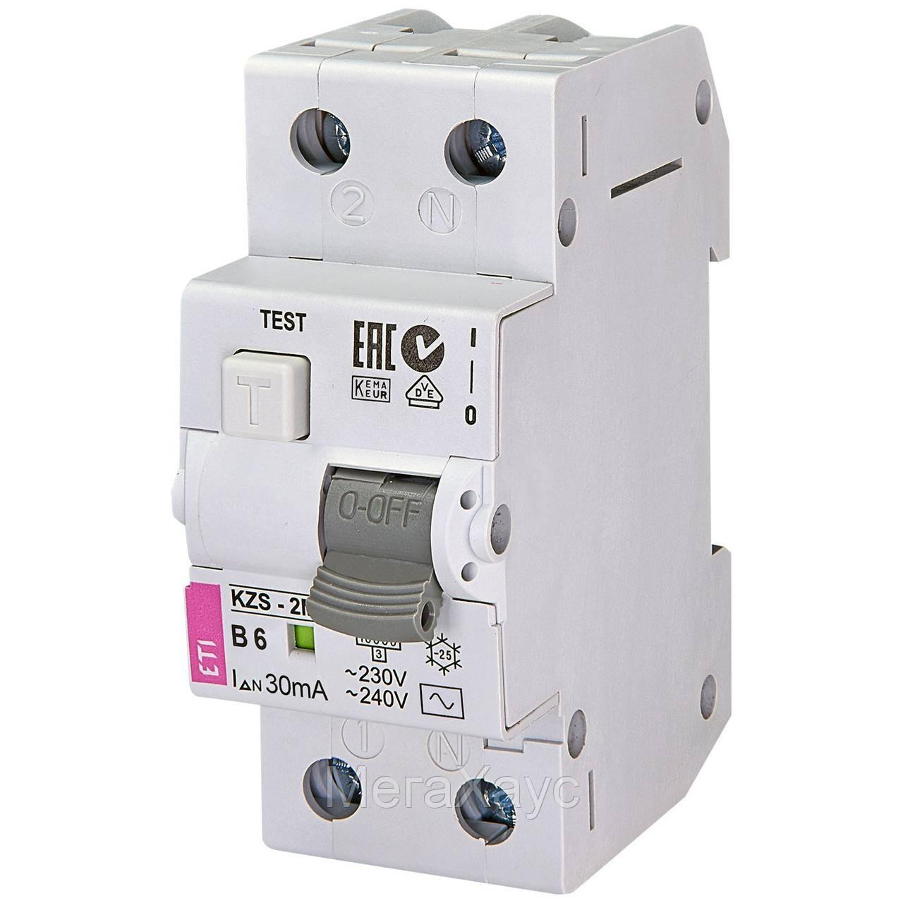 Дифференциальный  автоматический выключатель ETI  KZS-2M B 6/0,03 тип AC (10kA)