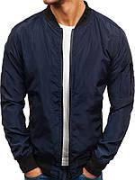Куртка мужская осенняя / ветровка / бомбер т-синий