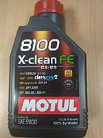 Синтетическое моторное масло MOTUL 5W30 8100 X-clean FE (1л) MB 229.51/VW 502.00-505.01 - Франция, фото 1