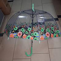 Зонт  трость прозрачный цветы