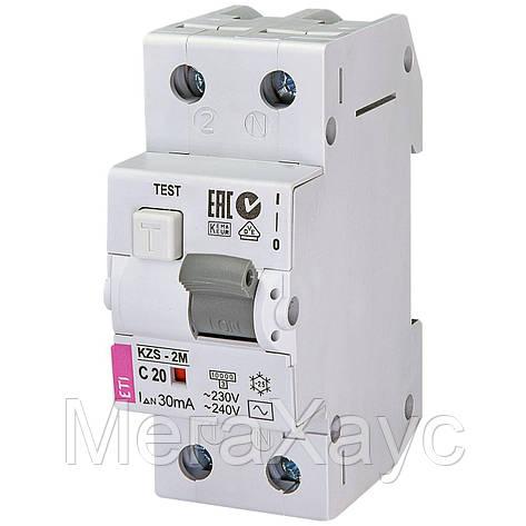 Дифференциальный  автоматический выключатель ETI. KZS-2M C 20/0,03 тип AC (10kA), фото 2