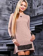 Женское асимметричное платье с гипюром по низу (2381-2383-2384-2385-2386 svt)