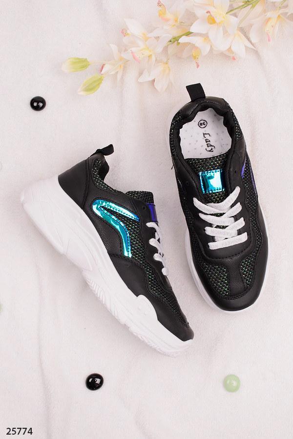 Стильные женские кроссовки черные эко-кожа+ текстиль на платформе 5 см
