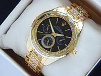 Женские наручные часы Rolex золотого цвета, черный циферблат с граненным стеклом, фото 1