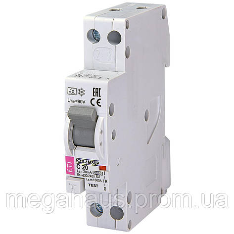 Дифференциальный  автоматический выключатель ETI.  KZS-1M SUP C 20/0,03 тип A (6k, фото 2