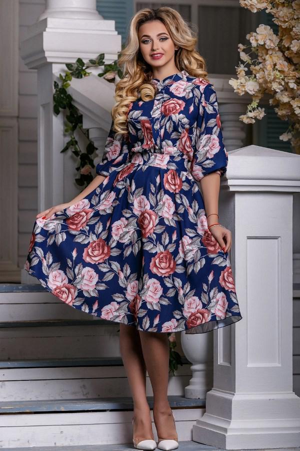 cd1567d7179b8c8 Летнее Платье в Цветочек Из Ткани Софт Д-1439 — в Категории