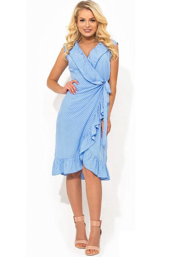 6c2c8b23e39 Летнее голубое платье из штапеля в горошек Д-1412 - KORSETOV - Магазин  женской одежды