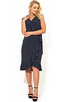 Летнее темно-синее платье из штапеля в горошек Д-1413