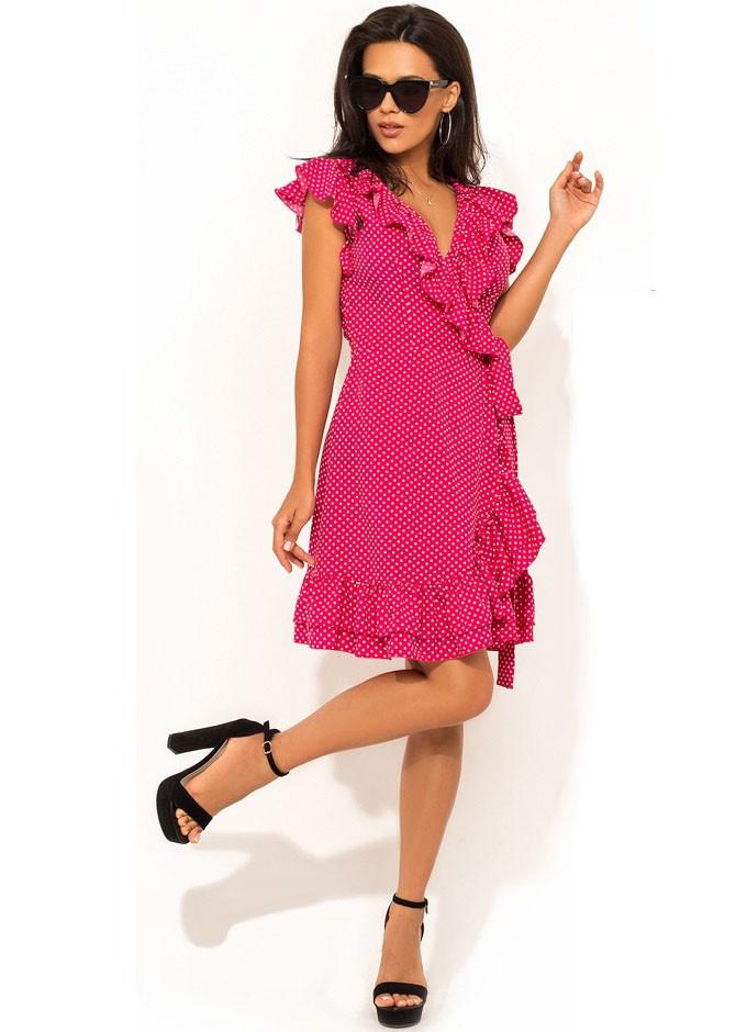 8119f947694 Летнее Розовое Платье на Запах с Рюшей Д-1409 — в Категории