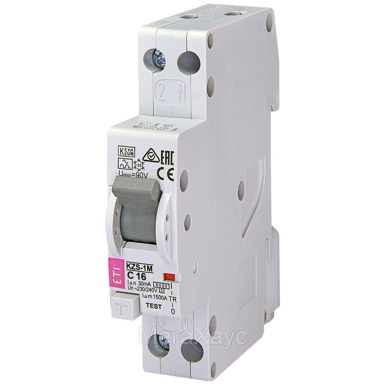 Дифференциальный  автоматический выключатель ETI KZS-1M C 16/0,03 тип A (6kA) (н