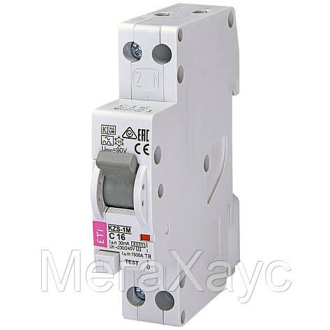 Дифференциальный  автоматический выключатель ETI KZS-1M C 16/0,03 тип A (6kA) (н, фото 2