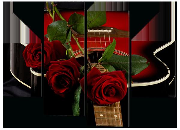Понно из четырех частей (модульная) картина Красные розы и гитара