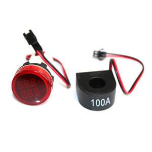 Цифровий вольтметр-амперметр АВаТар 500 В/100 А круглий червоний