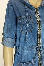 Джинсовое платье туника с капюшоном , фото 2