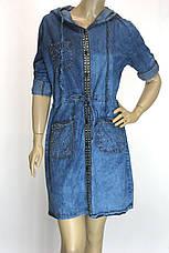 Джинсовое платье туника с капюшоном , фото 3
