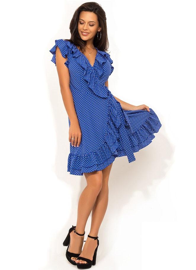 deec2bc35d3 Летнее Синее Платье на Запах с Рюшей Д-1408 — в Категории