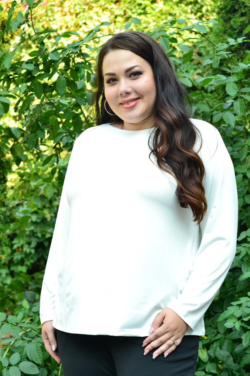Белая базовая туника для полных женщин 68-82 размер