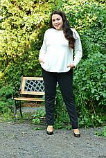 Белая базовая туника для полных женщин 68-82 размер, фото 3