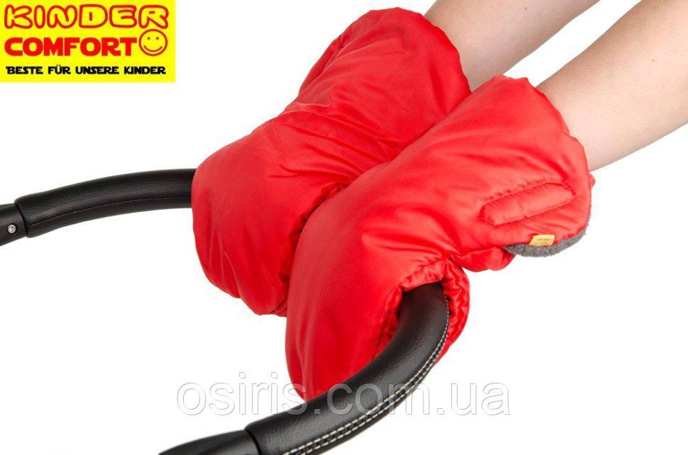 Муфта на коляску детскую на флисе красная / муфта рукавицы на коляску детскую
