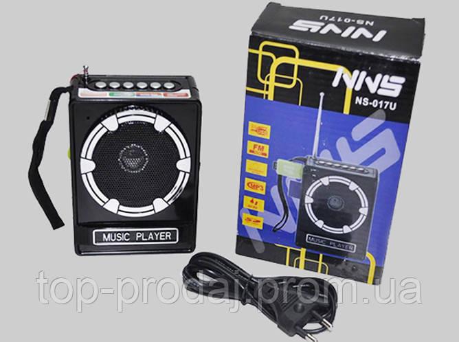Радио NS 017U, Портативная колонка, Блютуз динамик MP3 плеер, Портативная переносная колонка с FM-приемником