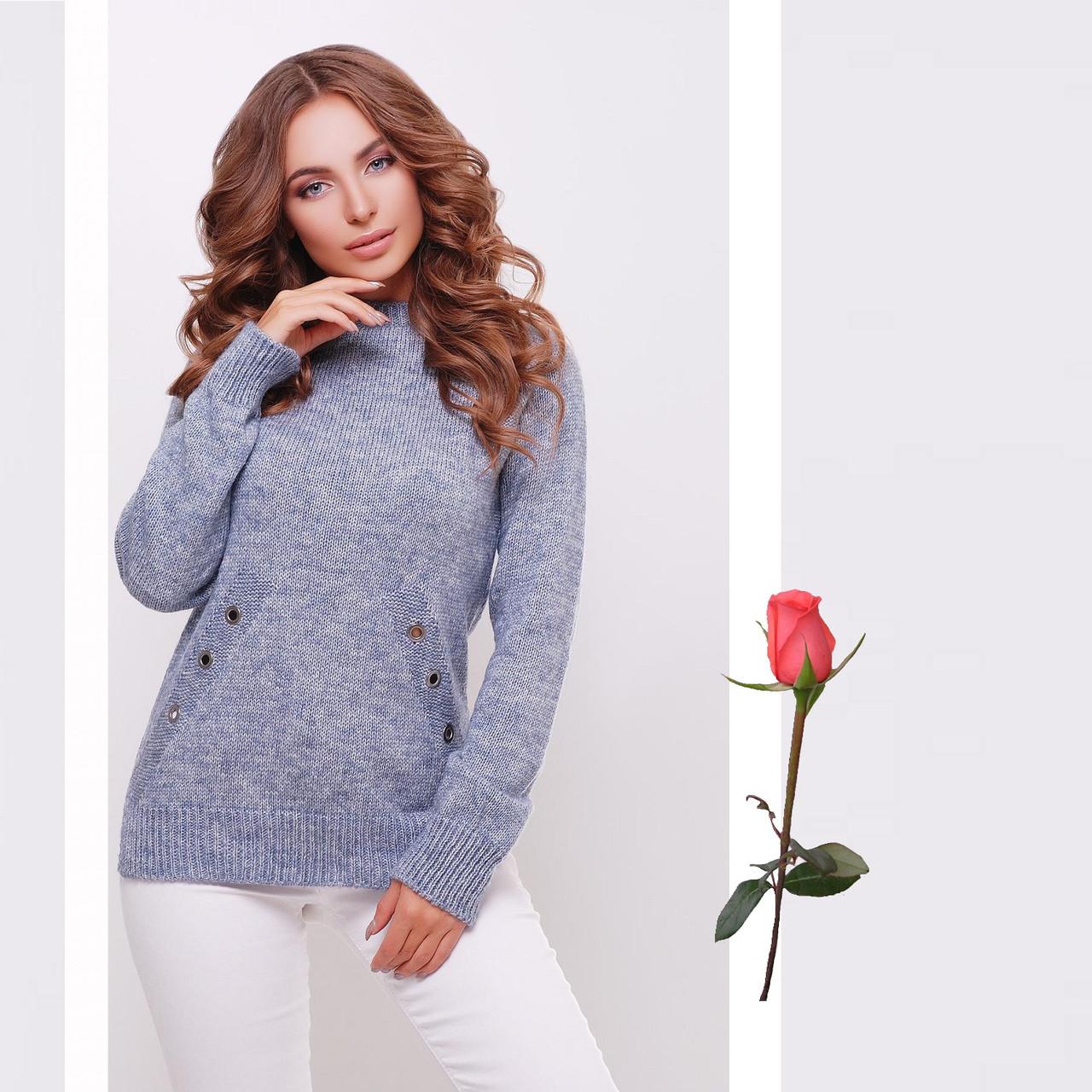 Меланжевый полушерстяной вязаный женский свитер с круглым вырезом Gl  77144  Голубой