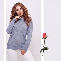 Меланжевый полушерстяной вязаный женский свитер с круглым вырезом Gl  77144  Голубой, фото 1