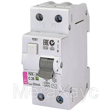 Дифференциальный  автоматический выключатель ETI  KZS-2M C 25/0,03 тип AC (10kA), фото 2