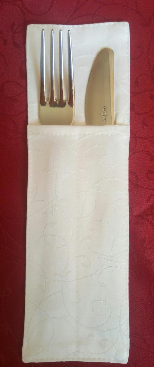 Куверт (конверт) , на 2 прибора, ткань  Мати  рис. 1812 , белый.