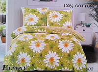 Постельное белье сатин с цветочным орнаментом ELWAY 003 полуторка