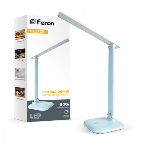 фото картинка Світлодіодний настільний світильник Feron DE1725 9W 6400K Блакитний