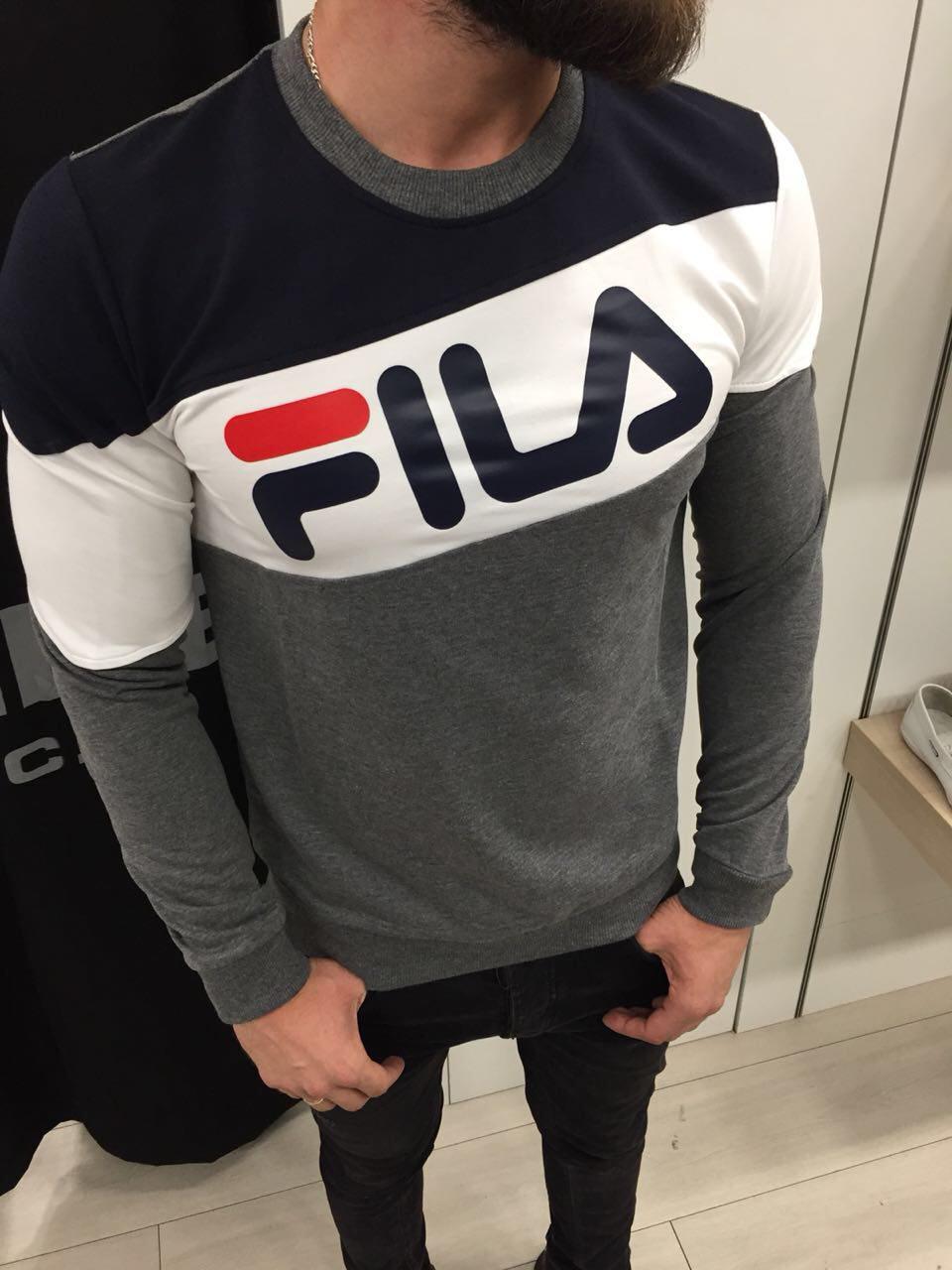 Мужская кофта свитшот Fila Grey-Navy-White топ реплика