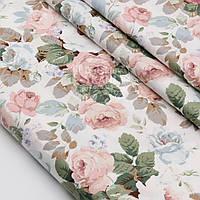 """Сатин ткань """"Розово-коричневые и серые розы"""" №1507с"""