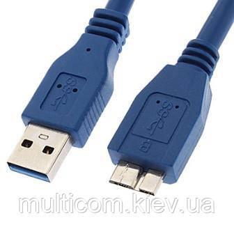 05-10-061. Шнур USB штекер А - штекер miсro USB с питанием, version.3.0, синий, 0,8м