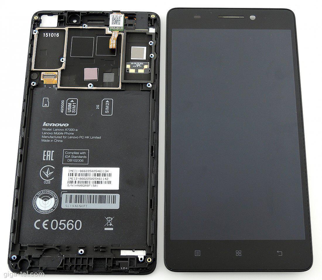 Дисплей Lenovo A7000 с тачскрином и рамкой черный Оригинал