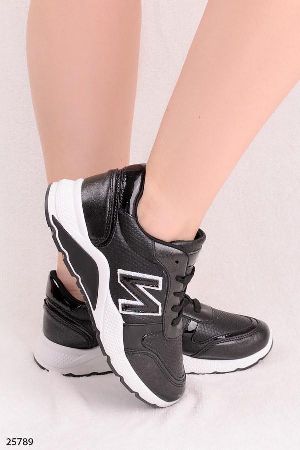 Стильные женские кроссовки черные эко-кожа+ текстиль